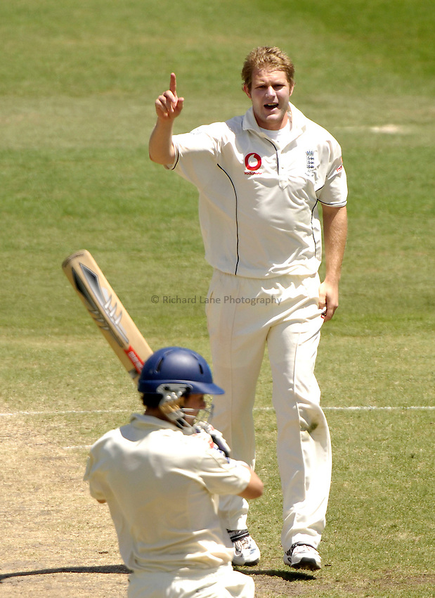 Photo: Steve Holland..New South Wales v England. Tour Match. 14/11/2006..England's Matthew Hoggard celebrates the wicket of Ed Cowan.