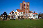 Glencairn Stuart Ogilvie developed Thorpeness as his private fantasy holiday village in the 1920s with buildings in Jacobean and Tudor styles, Thorpeness, Suffolk, England. The central building houses a water tower.