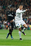 Real Madrid´s Cristiano Ronaldo (R) and Paris Saint-Germain´s Serge Aurier during Champions League soccer match between Real Madrid  and Paris Saint Germain at Santiago Bernabeu stadium in Madrid, Spain. November 03, 2015. (ALTERPHOTOS/Victor Blanco)