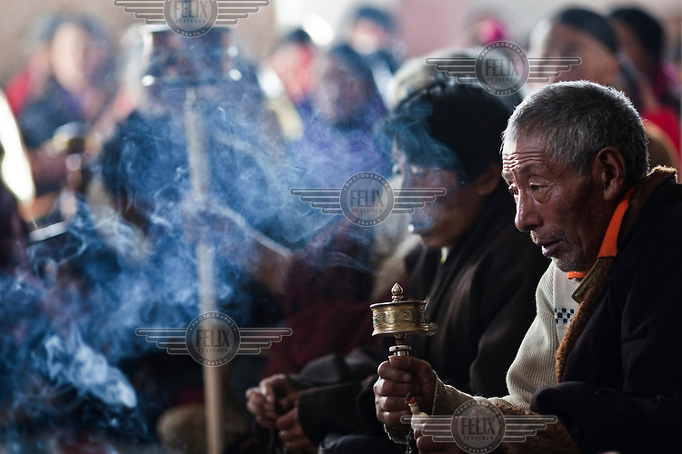 Monks participate in a religious ceremony in the Tibetan region of Sichuan Province. This year 10 Tibetan monks committed self-immolation as a form of political protest, raising anti-Chinese tensions and protests in a restive Tibetan region of Sichuan Province...