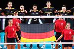 13.09.2019, Paleis 12, BrŸssel / Bruessel<br />Volleyball, Europameisterschaft, Deutschland (GER) vs. Serbien (SRB)<br /><br />Simon Hirsch (#13 GER), Moritz Karlitzek (#14 GER), Moritz Reichert (#5 GER), Marcus Bšhme / Boehme (#8 GER), Ruben Schott (#3 GER) wŠhrend Hymne / Flagga<br /><br />  Foto © nordphoto / Kurth