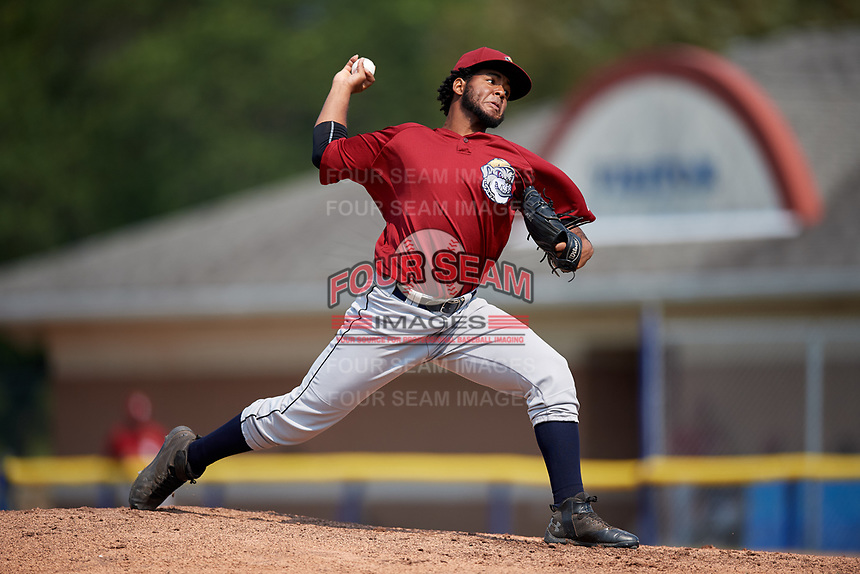 Mahoning Valley Scrappers starting pitcher Gregori Vasquez (47) delivers a pitch during the first game of a doubleheader against the Batavia Muckdogs on September 4, 2017 at Dwyer Stadium in Batavia, New York.  Mahoning Valley defeated Batavia 4-3.  (Mike Janes/Four Seam Images)