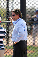 Logan White, Los Angeles Dodgers minor league spring training. White, the Dodgers assistant general manager, observes a minor league game at the Dodgers complex in Glendale, AZ..Photo by:  Bill Mitchell/Four Seam Images.