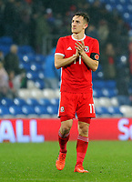 Tom Lawrence of Wales applauds home supporters during the international friendly soccer match between Wales and Panama at Cardiff City Stadium, Cardiff, Wales, UK. Tuesday 14 November 2017.