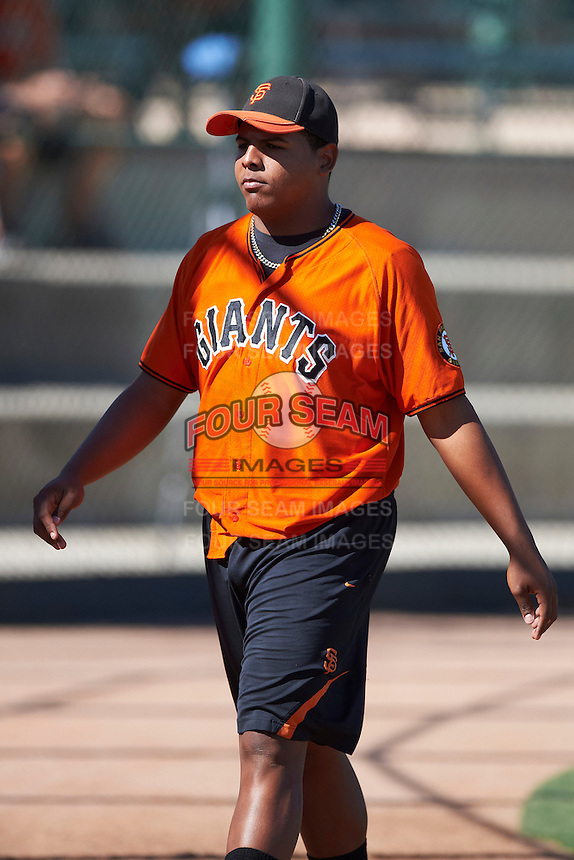 San Francisco Giants minor league pitcher Reyes Moronta #64 during an instructional league game against the Oakland Athletics at the Papago Park Baseball Complex on October 17, 2012 in Phoenix, Arizona. (Mike Janes/Four Seam Images)