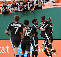DC United forward Danny Allsopp (9) celebrates with team mates his goal in the 12th minute of the game. DC United defeated The Kansas City Wizards  2-0 at RFK Stadium, Wednesday May 5, 2010.