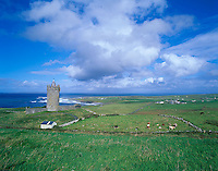 County Clare, Ireland                <br /> Clearing skies over Tower Castle and fields near Doolin, on Ireland's west coast