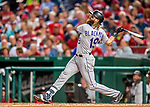 29 July 2017: Colorado Rockies outfielder Charlie Blackmon splinters his bat on an infield fly to third in the 5th inning against the Washington Nationals at Nationals Park in Washington, DC. The Rockies defeated the Nationals 4-2 in the first game of their 3-game weekend series. Mandatory Credit: Ed Wolfstein Photo *** RAW (NEF) Image File Available ***