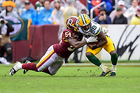 Landover, MD - September 23, 2018: Washington Redskins linebacker Mason Foster (54) tackles Green Bay Packers running back Ty Montgomery (88) for no gain during game between the Green Bay Packers and the Washington Redskins at FedEx Field in Landover, MD. The Redskins get the win 31-17 over the visiting Packers. (Photo by Phillip Peters/Media Images International)