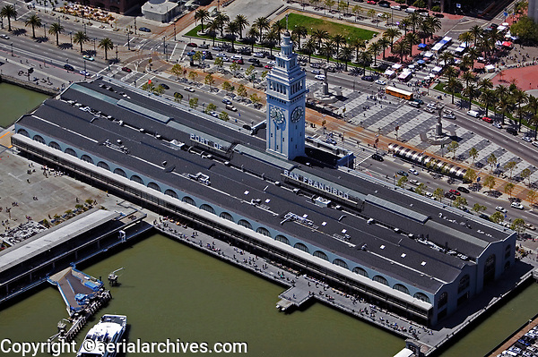 aerial photograph Ferry building Embarcadero Port of San Francisco