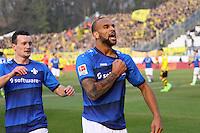 celebrate the goal, Torjubel zum 1:0 von Terrence Boyd (SV Darmstadt 98) - 11.02.2017: SV Darmstadt 98 vs. Borussia Dortmund, Johnny Heimes Stadion am Boellenfalltor