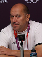 Hampden Park, Glasgow, match venue for Olympic Football at London 2012...Georgy Kondratyev, Coach of the Belarus Mens Football Team at the Press Conference...........