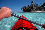 Sea Kayaking, Belize, Lime Cay, palm treed island, Belize Barrier Reef, Caribbean Sea, Lime Cay is off Placencia, Belize south coast,.