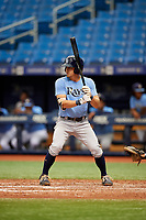 Ford Proctor (4) at bat during the Tampa Bay Rays Instructional League Intrasquad World Series game on October 3, 2018 at the Tropicana Field in St. Petersburg, Florida.  (Mike Janes/Four Seam Images)