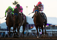 DEL MAR, CA - NOVEMBER 04: Collected #11, ridden by Martin Garcia, West Coast #8, ridden by Javier Castellano, and War Story #4, ridden by Jose Ortiz, cross the finish line after Gun Runner #5, ridden by Florent Geroux, won the Breeders' Cup Classic on Day 2 of the 2017 Breeders' Cup World Championships at Del Mar Thoroughbred Club on November 4, 2017 in Del Mar, California. (Photo by Alex Evers/Eclipse Sportswire/Breeders Cup)