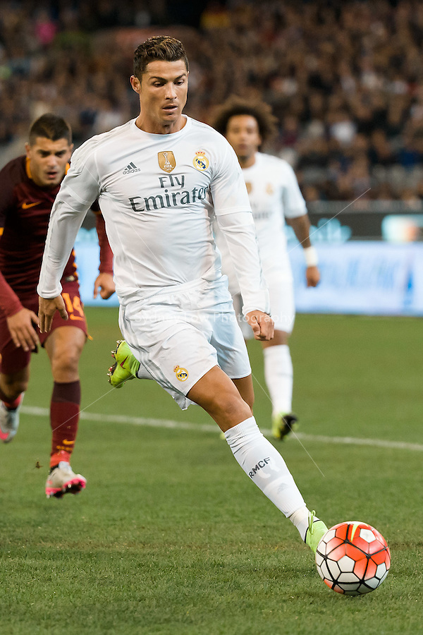 Melbourne, 18 July 2015 - Cristiano Ronaldo of Real Madrid controls the ball in game one of the International Champions Cup match at the Melbourne Cricket Ground, Australia. Roma def Real Madrid 7-6 Penalties. Photo Sydney Low/AsteriskImages.com
