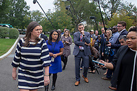 WASHINGTON, DC: White House Press Secretary Sarah Huckabee Sanders speaks to the media outside the west wing of the White House on October 5, 2018. <br /> CAP/MPI/RS<br /> &copy;RS/MPI/Capital Pictures
