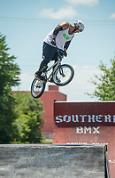 NWA Democrat-Gazette/BEN GOFF @NWABENGOFF<br /> Cody Juarez of Rogers jumps Saturday, July 7, 2018, at a Southern BMX Stunt Show performance during The Natural State Criterium Series in downtown Rogers. The third annual series produced by BikeNWA began with races in downtown Bentonville Friday evening. The series concludes Sunday in downtown Springdale with the first event starting at 8:50 a.m. and the final event starting at 4:00 p.m.