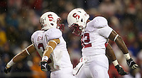 SEATTLE, WA - September 28, 2013: Stanford wide receiver Michael Rector, left, and running back Anthony Wilkerson celebrate a touchdown during play against Washington State at CenturyLink Field. Stanford won 55-17
