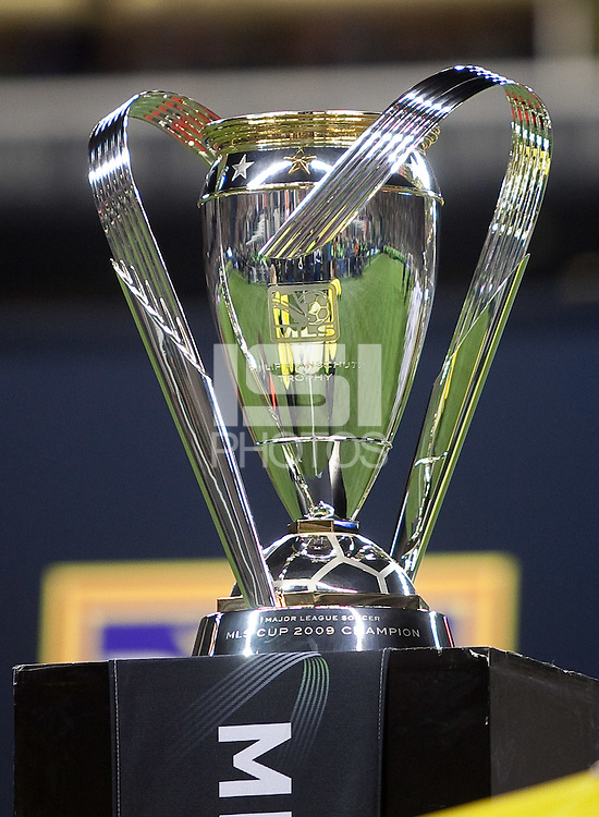 SEATTLE, WA--The championship trophy is displayed before the start of the MLS Cup championships at Qwest field in Seattle. SUNDAY, NOVEMBER 22, 2009. PHOTO BY DON FERIA.