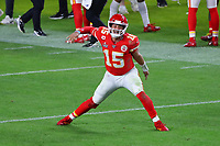 2nd February 2020, Miami Gardens, Florida, USA;   Kansas City Chiefs Quarterback Patrick Mahomes (15) reacts after a touchdown during the second half of Super Bowl LIV on February 2, 2020 at Hard Rock Stadium in Miami Gardens