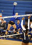 Marymount's Becca Schroeder attacks the ball during a college volleyball match against PSU Harrisburg at Marymount University in Arlington, Vir., on Wednesday, Oct. 9, 2013.<br /> Photo by Cathleen Allison
