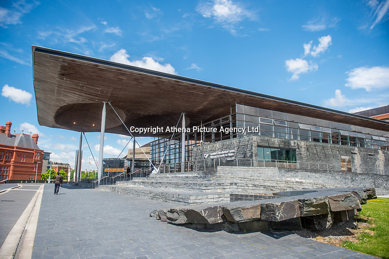 Thursday 18 May 2017<br /> Pictured: A view of the 'Senedd', the Welsh Assembly Building in Cardiff Bay, Cardiff. <br /> Re: Former Welsh first minister Rhodri Morgan has died, aged 77. Rhodri Morgan was elected as an MP in 1987 and became an AM when the assembly was created in 1999.