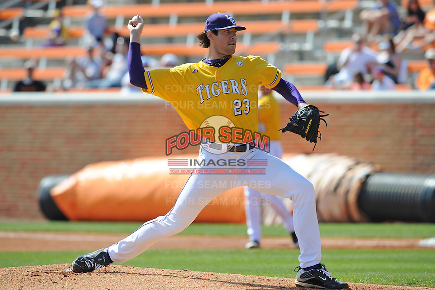 Anthony Ranaudo #23 of the LSU Tigers delivers a pitch at Lindsey Nelson Stadium in game against Tennessee Volunteers in Knoxville, TN March 27, 2010 (Photo by Tony Farlow/Four Seam Images)