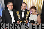 Edmond Harty of Dairymaster with his Parents Maureen and Ned celebrating winning the International and Overall awards at the Ernst & Young Entrepreneur awards in Citywest Hotel, Dublin on Thursday Night.