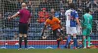Oldham Athletic's Duckens Nazon celebrates scoring the opening goal <br /> <br /> Photographer Stephen White/CameraSport<br /> <br /> The EFL Sky Bet League One - Blackburn Rovers v Oldham Athletic - Saturday 10th February 2018 - Ewood Park - Blackburn<br /> <br /> World Copyright &copy; 2018 CameraSport. All rights reserved. 43 Linden Ave. Countesthorpe. Leicester. England. LE8 5PG - Tel: +44 (0) 116 277 4147 - admin@camerasport.com - www.camerasport.com