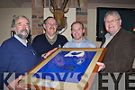 Tom Curtayne President of Killorglin Rugby club presents Billy O'Shea a framed vintage Killorglin shirt in memory of his aunties Rhetta and Anne O'Shea in O'Shea's bar Killorglin RC on Friday night l-r: Tom Curtayne, John Healy, Billy O'Shea and John Costello.