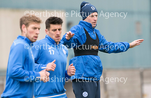 St Johnstone Training&hellip;14.04.17<br />Striker Steven MacLean pictured during training at McDiarmid Park this morning ahead of tomorrow&rsquo;s game against Aberdeen.<br />Picture by Graeme Hart.<br />Copyright Perthshire Picture Agency<br />Tel: 01738 623350  Mobile: 07990 594431