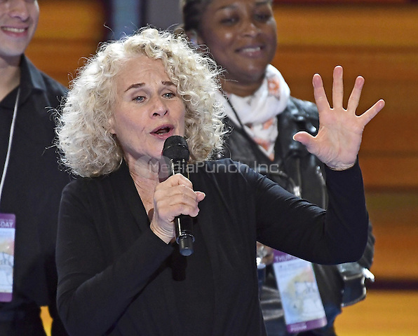 Carole King rehearses &quot;You've Got a Friend&quot; prior to the start of the fourth session of the 2016 Democratic National Convention at the Wells Fargo Center in Philadelphia, Pennsylvania on Thursday, July 28, 2016.<br /> Credit: Ron Sachs / CNP/MediaPunch<br /> (RESTRICTION: NO New York or New Jersey Newspapers or newspapers within a 75 mile radius of New York City)