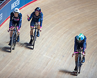 26th January 2020; National Cycling Centre, Manchester, Lancashire, England; HSBC British Cycling Track Championships;  Men's team pursuit gold medallists HUBB-Wattbike Test Team,celebrate after clocking the fastest national time ever at the Manchester velodrome