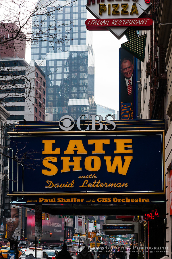 US, New York City. Ed Sullivan Theater on Broadway. The Late Show with David Letterman.