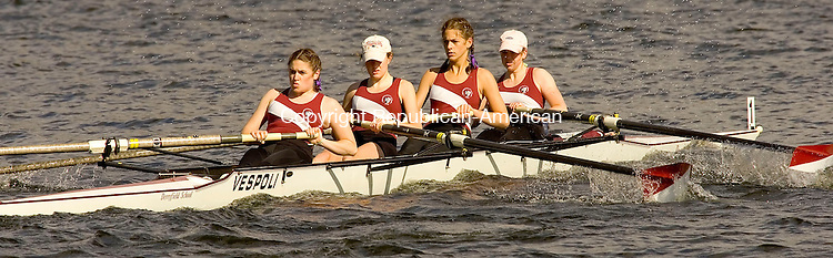 WASHINGTON, CT--06 MAY 2007--050607JS07-Crew members from the Derryfield School row through the waters of Lake Waramaug in Washington during the annual Founders' Day Regatta on Sunday. <br /> Jim Shannon/Republican-American