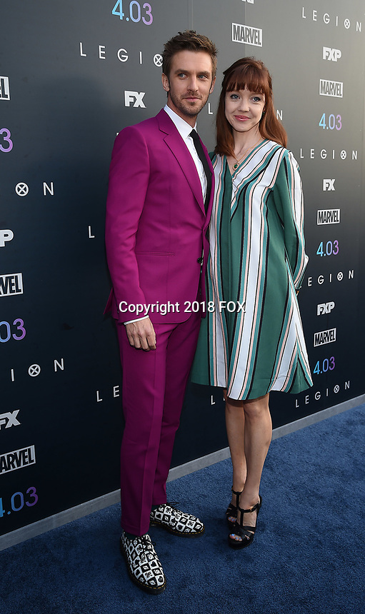 """LOS ANGELES, CA - APRIL 2: Dan Stevens and Susie Hariet attend the season two premiere of FX's """"Legion"""" at the DGA Theater on April 2, 2018 in Los Angeles, California. (Photo by Frank Micelotta/FX/PictureGroup)"""