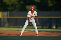 Carlos Soler (13) of the Johnson City Cardinals takes his lead off of first base against the Burlington Royals at Burlington Athletic Stadium on September 3, 2019 in Burlington, North Carolina. The Cardinals defeated the Royals 7-2 to even Appalachian League Championship series at one game a piece. (Brian Westerholt/Four Seam Images)