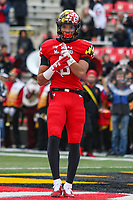 College Park, MD - October 27, 2018: Maryland Terrapins wde receiver Jeshaun Jones (6) celebrates after scoring a touchdown during the game between Illinois and Maryland at  Capital One Field at Maryland Stadium in College Park, MD.  (Photo by Elliott Brown/Media Images International)