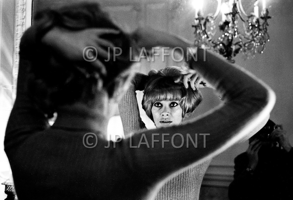 New York City. February 20th, 1969. Actress Mireille Darc at Plaza Hotel, Suite 934. She was promoting the british comedy: &quot;Monte Carlo or Bust!&quot;.<br />