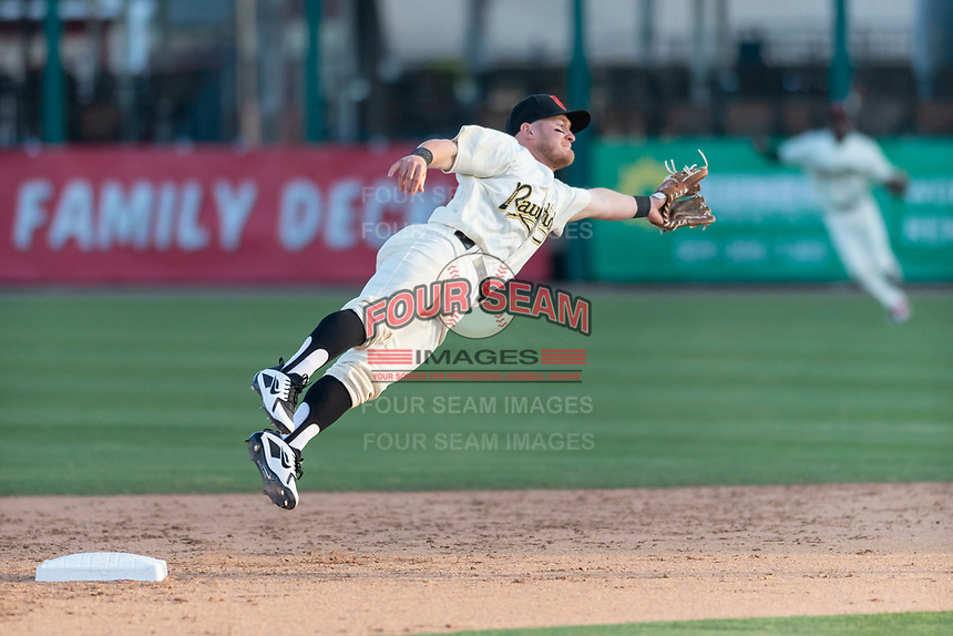 Visalia Rawhide second baseman Camden Duzenack (1) during a California League game against the Rancho Cucamonga Quakes on April 9, 2019 in Visalia, California. Visalia defeated Rancho Cucamonga 8-5. (Zachary Lucy/Four Seam Images)