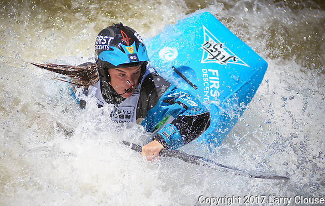 June 9, 2017 - Vail, Colorado, U.S. - South Carolina's, Adriene Levknecht, concentrates on her next move in the Freestyle Kayak competition during the GoPro Mountain Games, Vail, Colorado.  Adventure athletes from around the world meet in Vail, Colorado, June 8-11, for America's largest celebration of mountain sports, music, and lifestyle.