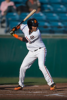 San Jose Giants third baseman Wander Franco (12) at bat during a California League game against the Modesto Nuts at San Jose Municipal Stadium on May 15, 2018 in San Jose, California. Modesto defeated San Jose 7-5. (Zachary Lucy/Four Seam Images)
