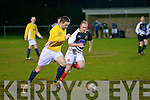 Classic FC's David Hennebery and St Bernard's FC's Aidan Murphy.