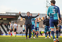 Wycombe Wanderers Manager Gareth Ainsworth gives supporters a thumb up after there win during the Sky Bet League 2 match between Grimsby Town and Wycombe Wanderers at Blundell Park, Cleethorpes, England on 4 March 2017. Photo by Andy Rowland / PRiME Media Images.
