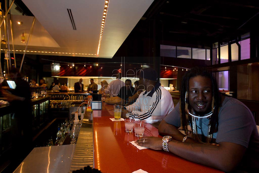 "Rapper and R & B artist T-Pain, whose ""Buy U a Drank (Shawty Snappin')"" has hit the top of the charts, at Strip Steaks and Sushi in Atlanta, Georgia on Wednesday, May 23, 2007."