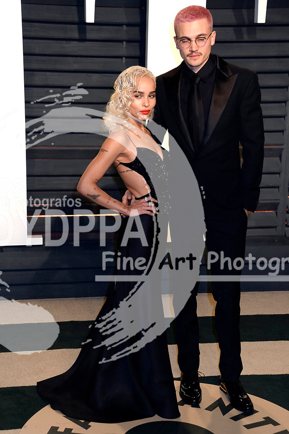 Zoe Kravitz and Karl Glusman attend the 2017 Vanity Fair Oscar Party hosted by Graydon Carter at Wallis Annenberg Center for the Performing Arts on February 26, 2017 in Beverly Hills, California.