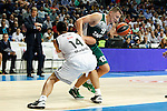 Basketball Real Madrid´s Ayon (L) and Zalgiris Kaunas´s Jankunas during Euroleague basketball match in Madrid, Spain. October 17, 2014. (ALTERPHOTOS/Victor Blanco)