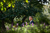 Washington, DC - October 9, 2009 -- United States President Barack Obama makes a statement on winning the 2009 Nobel Peace Prize in the Rose Garden of the White House, October 9, 2009.  .Mandatory Credit: Chuck Kennedy - White House via CNP