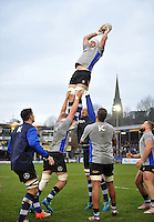 Dave Attwood of Bath Rugby wins the ball at a lineout during the pre-match warm-up. Aviva Premiership match, between Bath Rugby and Exeter Chiefs on December 31, 2016 at the Recreation Ground in Bath, England. Photo by: Patrick Khachfe / Onside Images